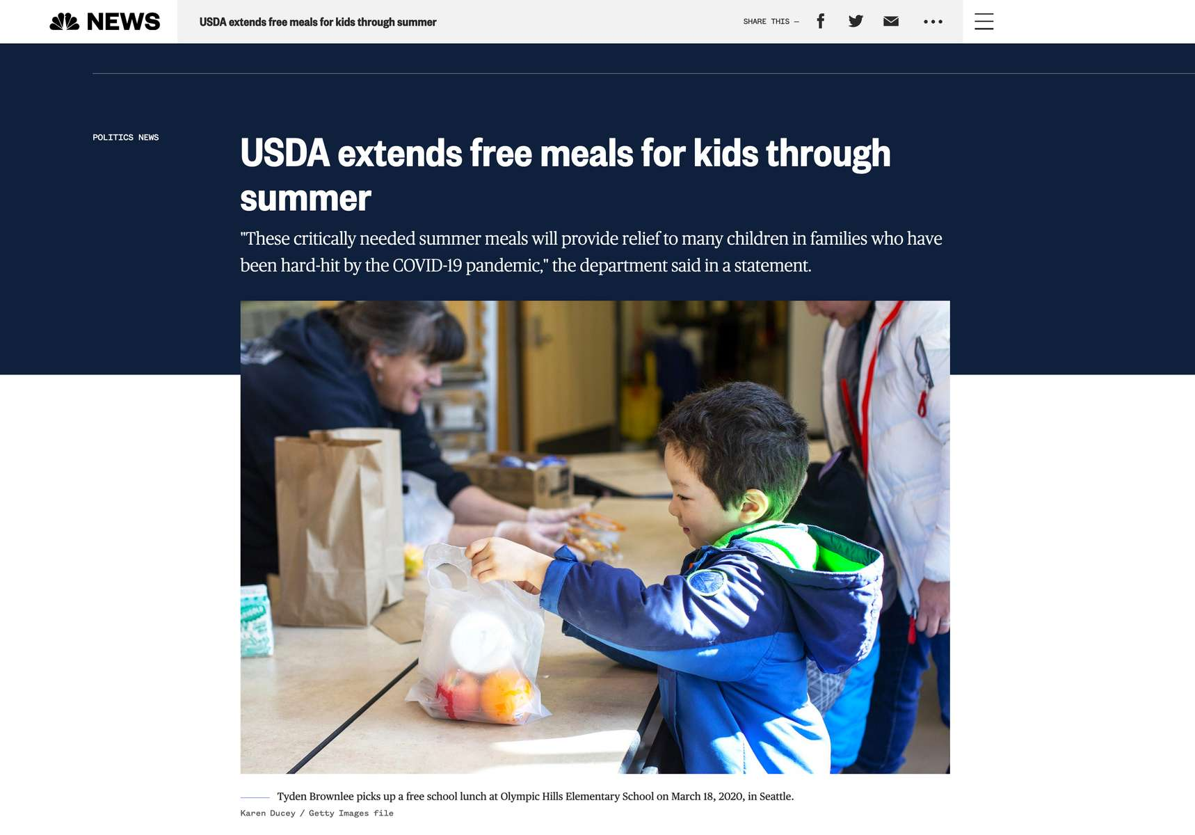 USDA extends free meals for kids through summer shot for Getty Images. Published on NBC News on March 10, 2021