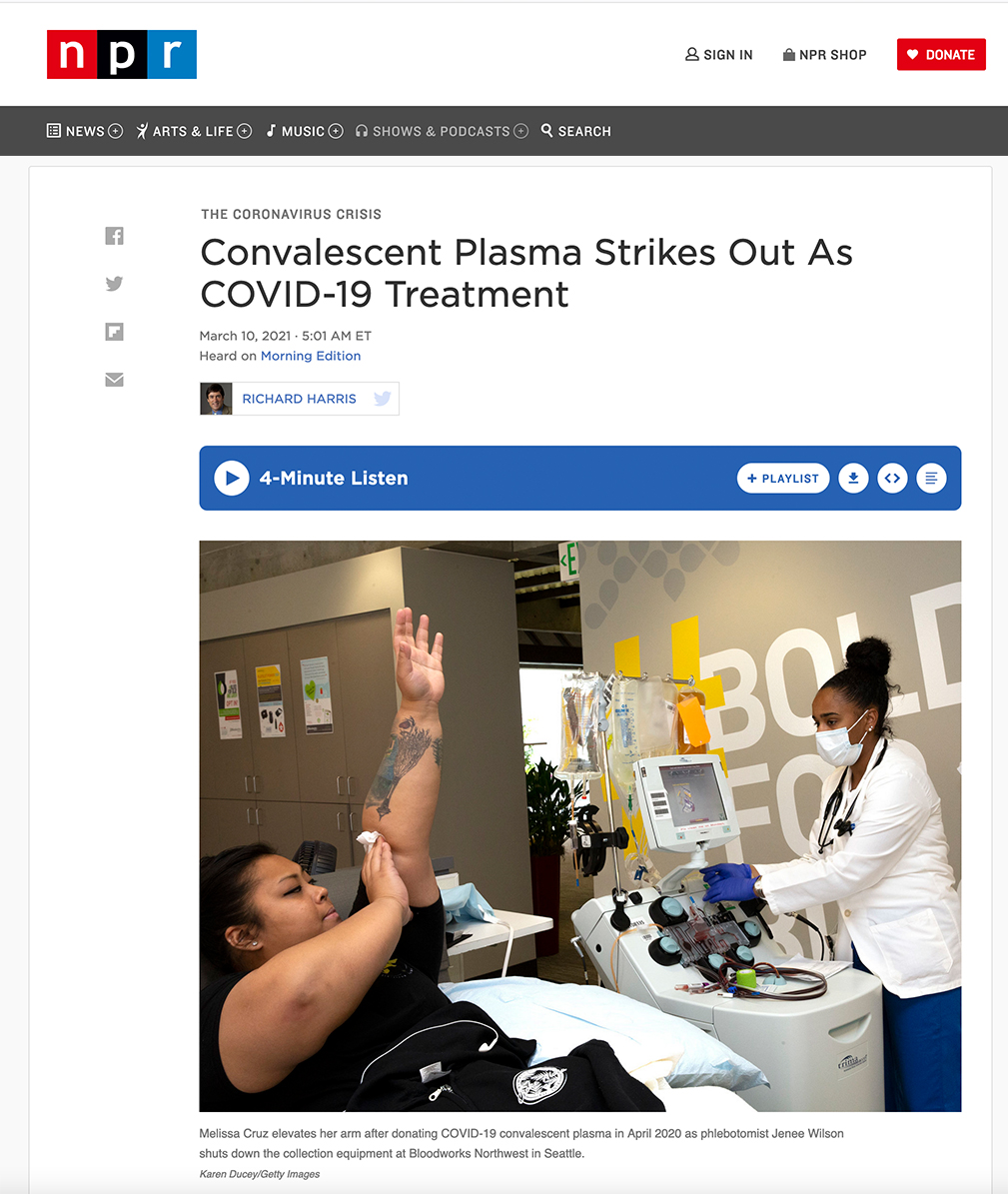 Convalescent Plasma Strikes Out As COVID-19 Treatment, photographed for Getty Images, published on NPR on March 10, 2021.