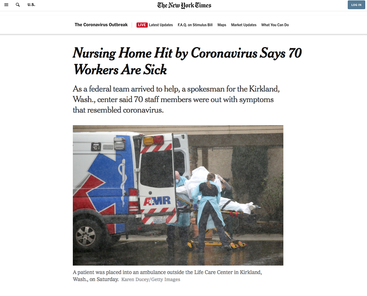{quote}Nursing Home Hit by Coronavirus Says 70 Workers Are Sick{quote}, Photo for Getty Images, published in The New York Times, March 7, 2020.