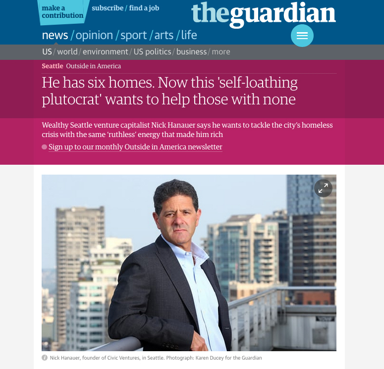 Wealthy Seattle venture capitalist Nick Hanauer says he wants to tackle the city's homeless crisis with the same 'ruthless' energy that made him rich, photos for The Guardian,  August 17, 2017