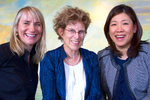 From left to right: Philanthropists Donna Bellew, Judy Pigott, and Jennifer Sik pose for a photo in Seattle. (© copyright Karen Ducey)