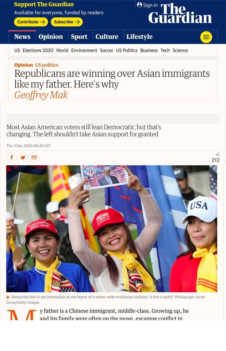 {quote}Republicans are winning over Asian immigrants like my father. Here's why,{quote} for Getty Images published in The Guardian, December 3, 2020.