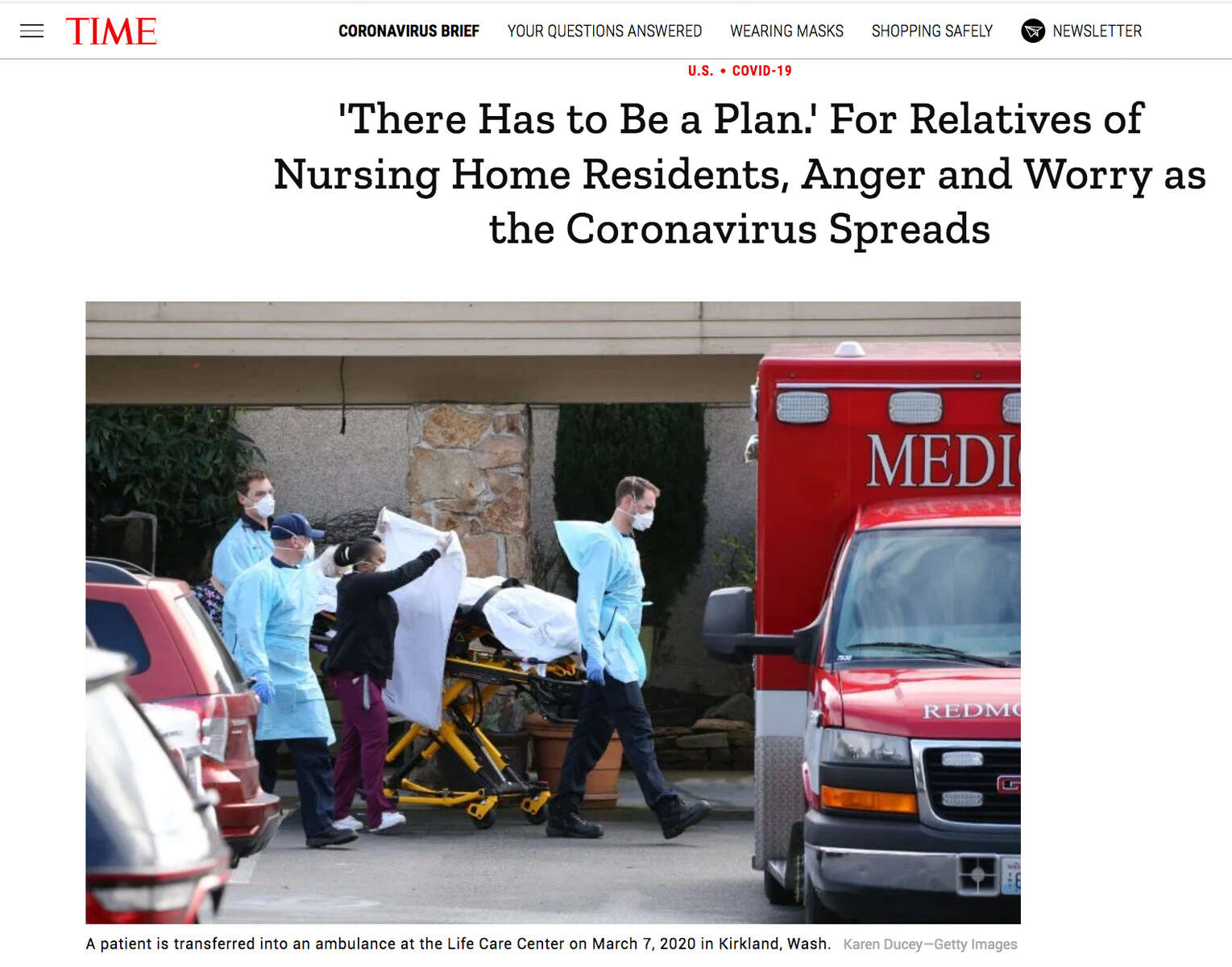{quote}'There Has to Be a Plan.' For Relatives of Nursing Home Residents, Anger and Worry as the Coronavirus Spreads{quote} photo for Getty Images published in TIME magazine on march 8, 2020.