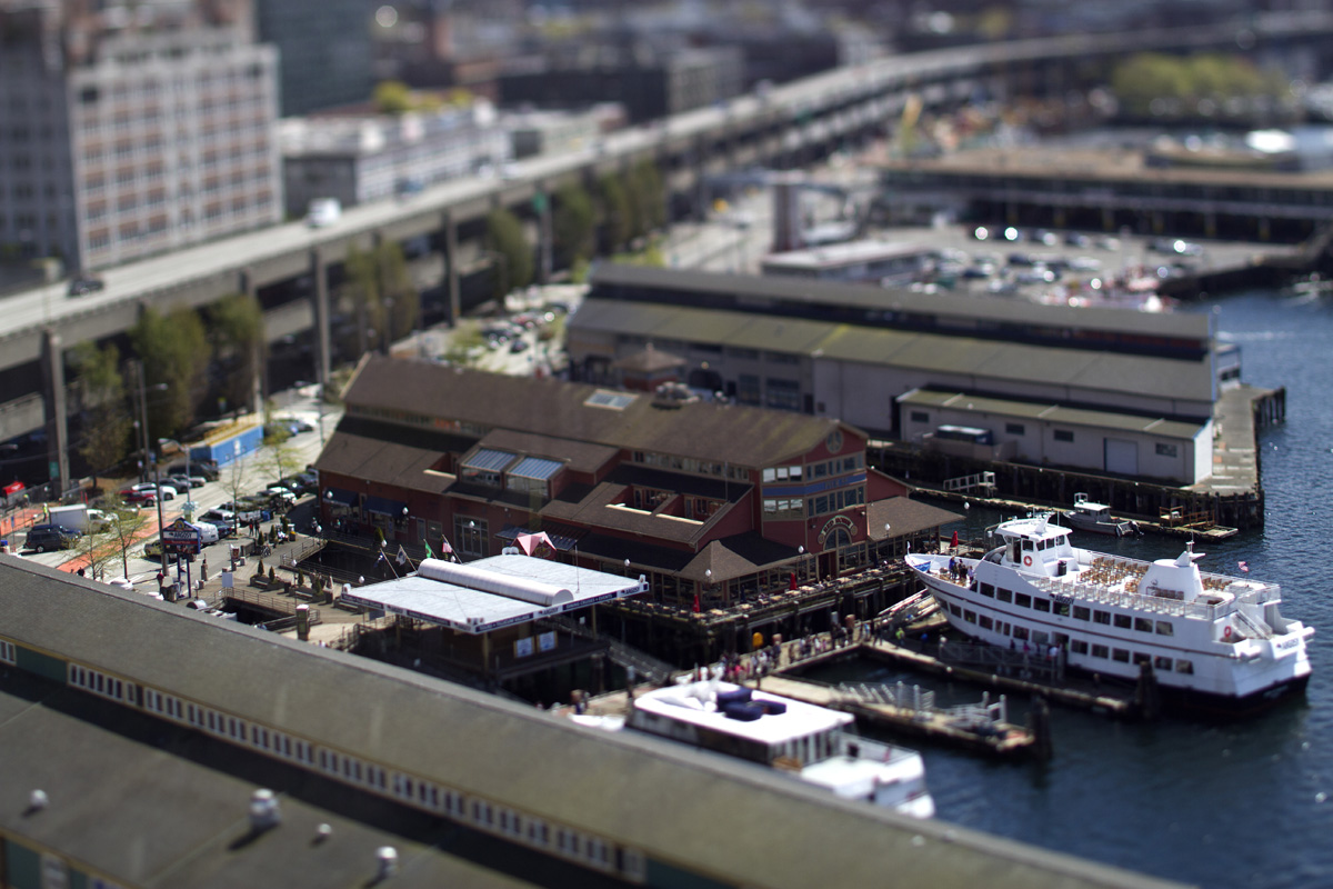 An Argosy cruise ship sits at Pier 55 on the Seattle waterfront. (© copyright Karen Ducey)