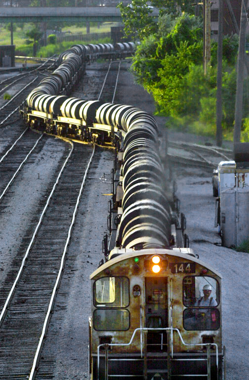 A train carrying steel in Gary, Indiana. (© copyright Karen Ducey)