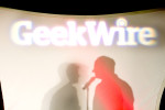 Shadows of John Cook and Todd Bishop at the Geekwire Summit in the WSCC Conference Center on February 8, 2012. (copyright Karen Ducey Photography)