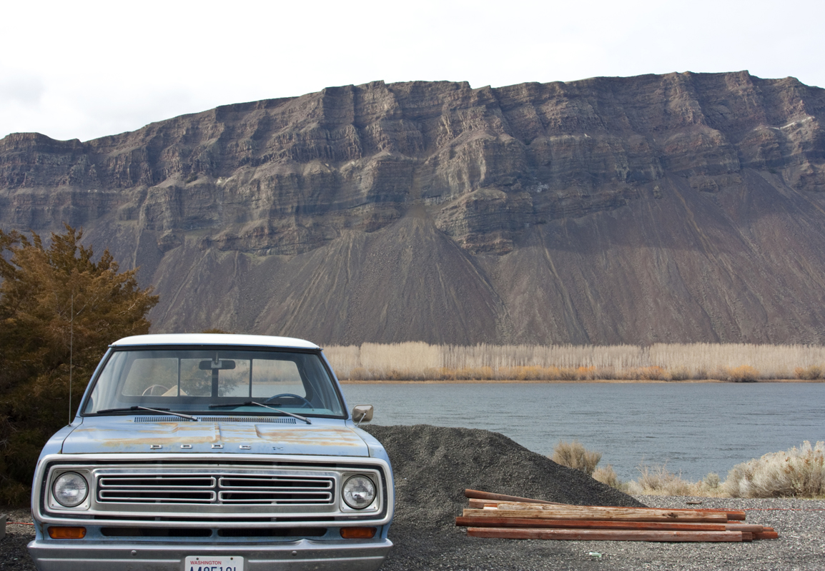 A 1973 Dodge pickup truck sits along the Columbia River in Schawana, Washington on February 8, 2011. Owner Bruce Howden says it was bought for him by his father as a graduation present in 1973 and has 56,000 original miles on it. (photo copyright Karen Ducey)