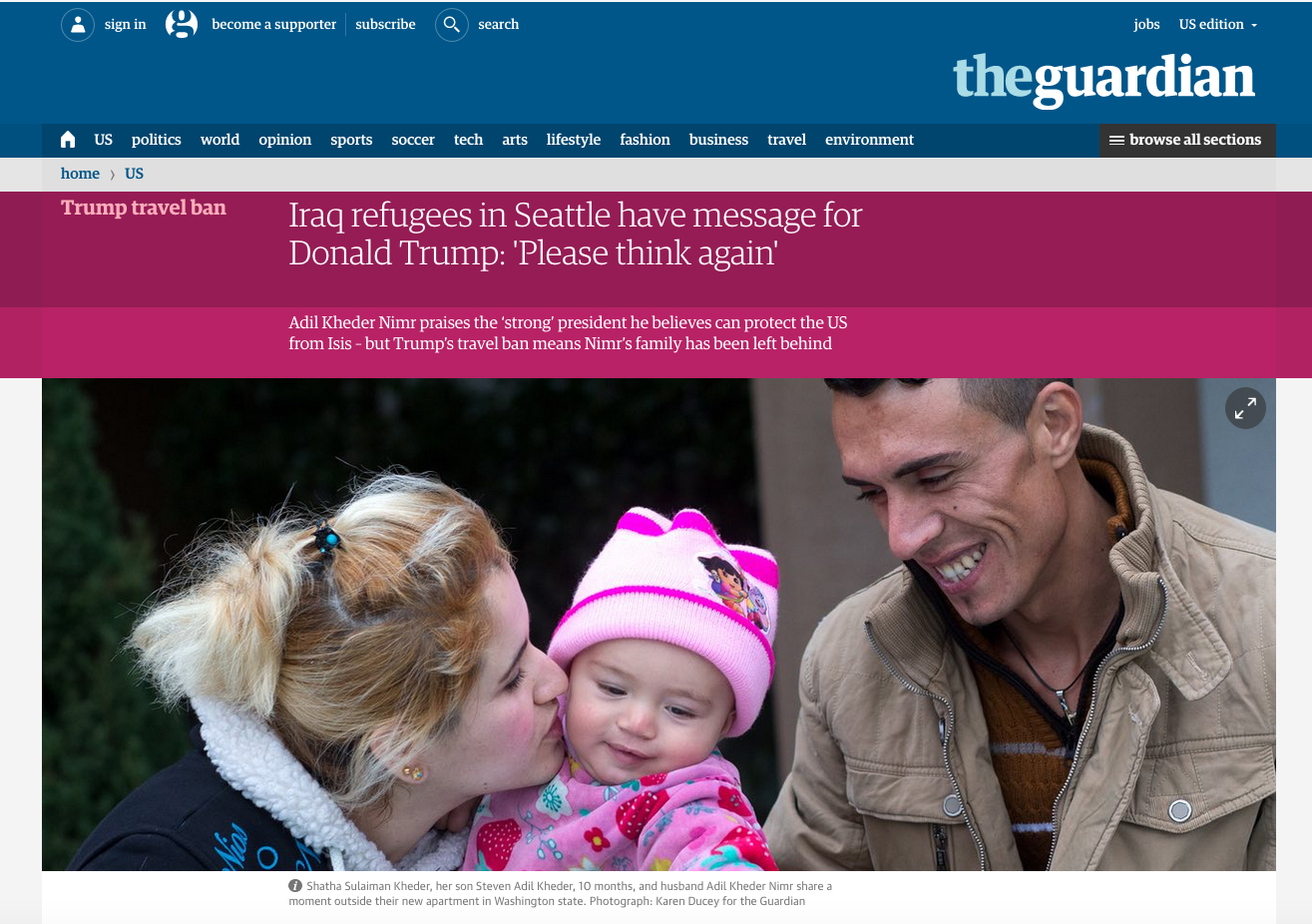 Iraq refugees in Seattle have message for Donald Trump: 'Please think again'. Photos for The Guardian, January 31, 2017.