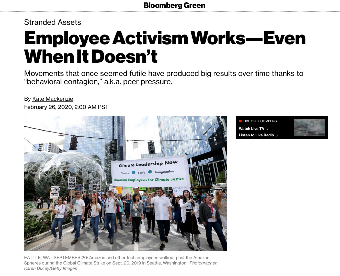 {quote}Employee Activism Works–Even When It Doesn't{quote}. Photos for Getty Images. Published in Bloomberg Green on February 26, 2020.