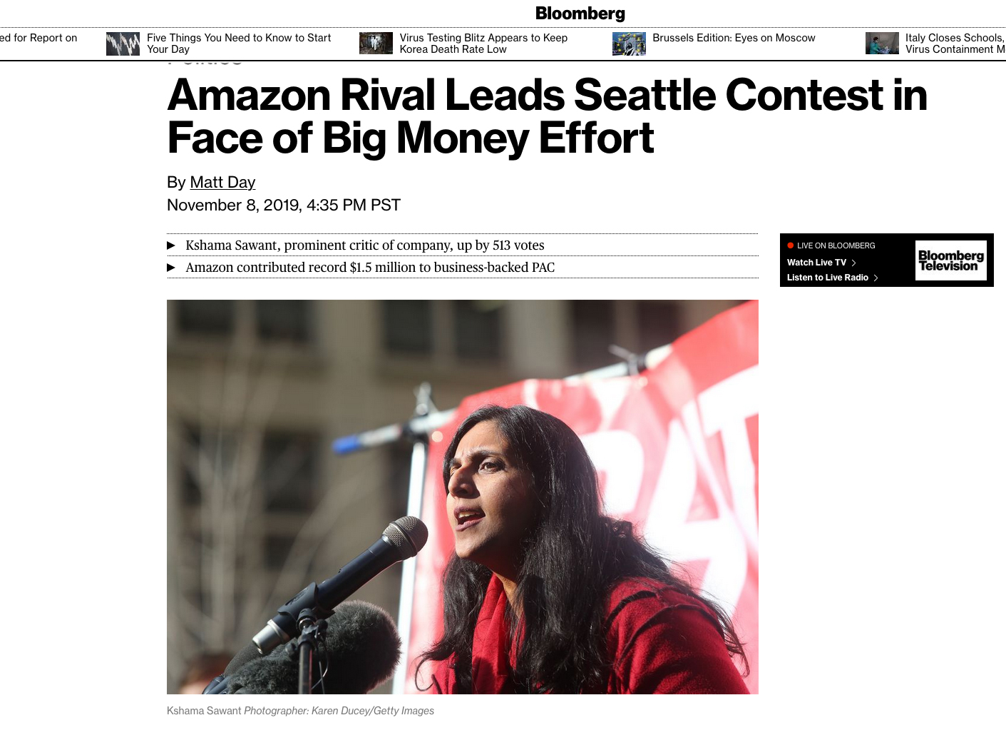 {quote}Amazon Rival Leads Seattle Contest in Face of Big Money Effort{quote} Photos for Getty Images. Published by Bloomberg, November 8, 2019