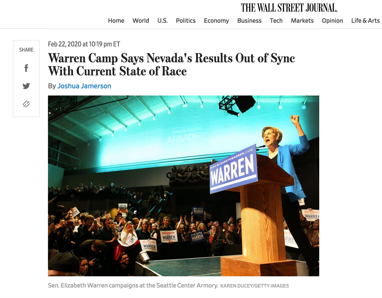 Warren Camp Says Nevada's Results Out of Sync With Current State of Race   Photos for Getty Images, published in the The Wall Street Journal, Feb 22, 2020.