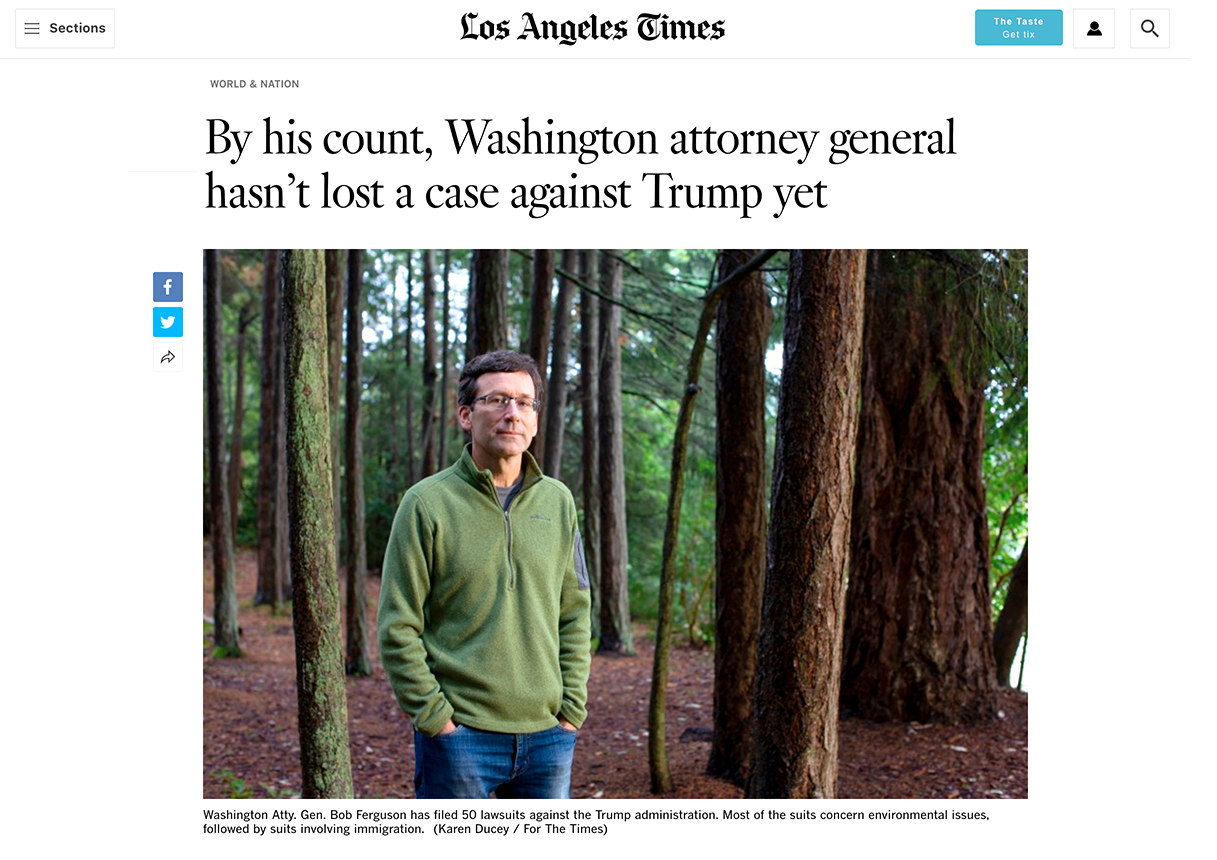By his count, Washington attorney general hasn't lost a case against Trump yet    Photo essay for the LA Times, October, 2, 2019