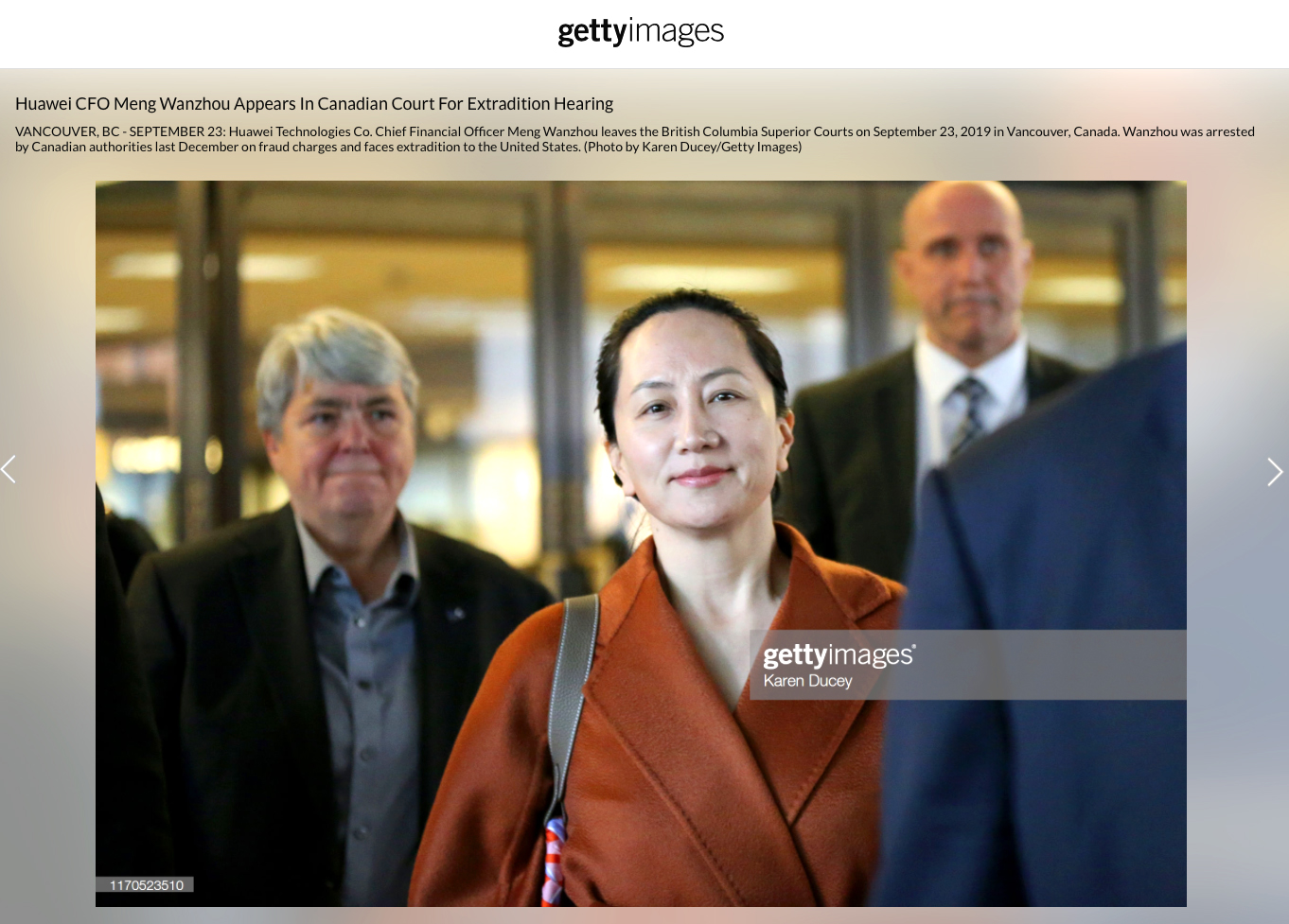 Huawei CFO Meng Wanzhou Appears In Canadian Court For Extradition Hearing, Photos for Getty Images, September 23, 2019.