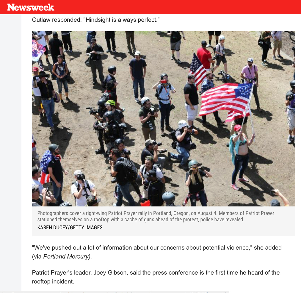 Patriot Prayer Members Armed With Snipers Positioned Themselves on Roof Ahead of August Protest, Police Reveal, Photos for Getty Images published in Newsweek, October 16, 2018.