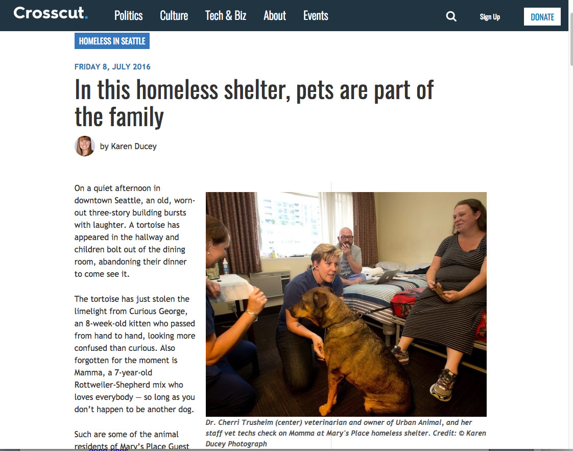 In this homeless shelter, pets are part of the family, story and photos for Crosscut, July 8, 2016.
