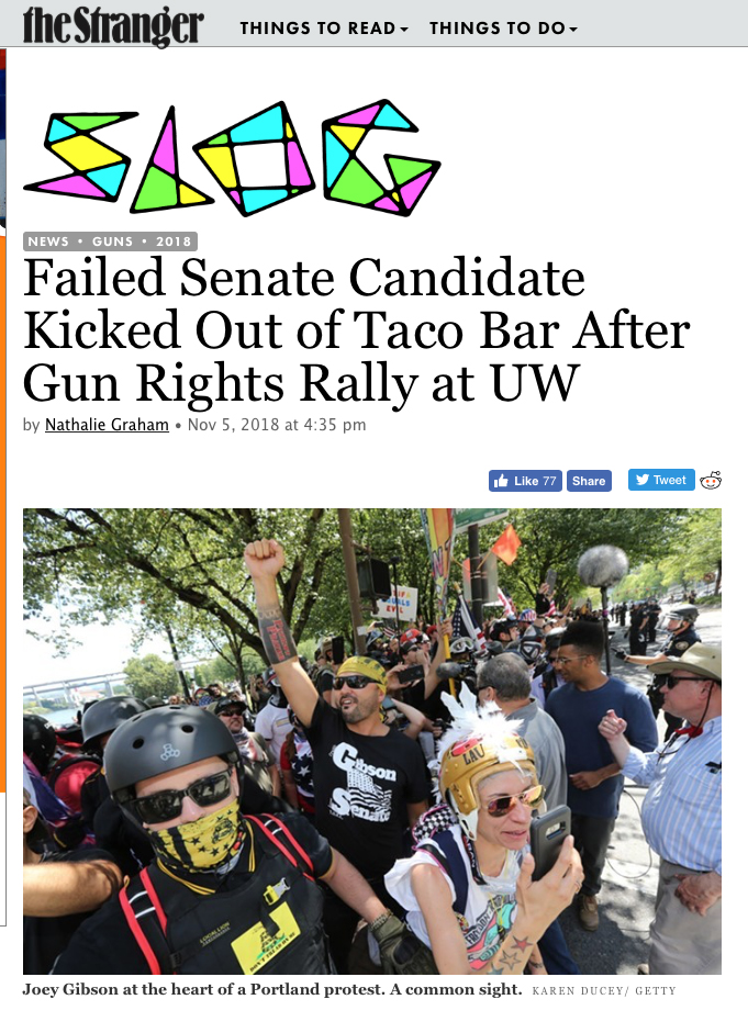Failed Senate Candidate Kicked Out of Taco Bar After Gun Rights Rally at UW. Photos for Getty Images published in The Stranger, November 5, 2018.