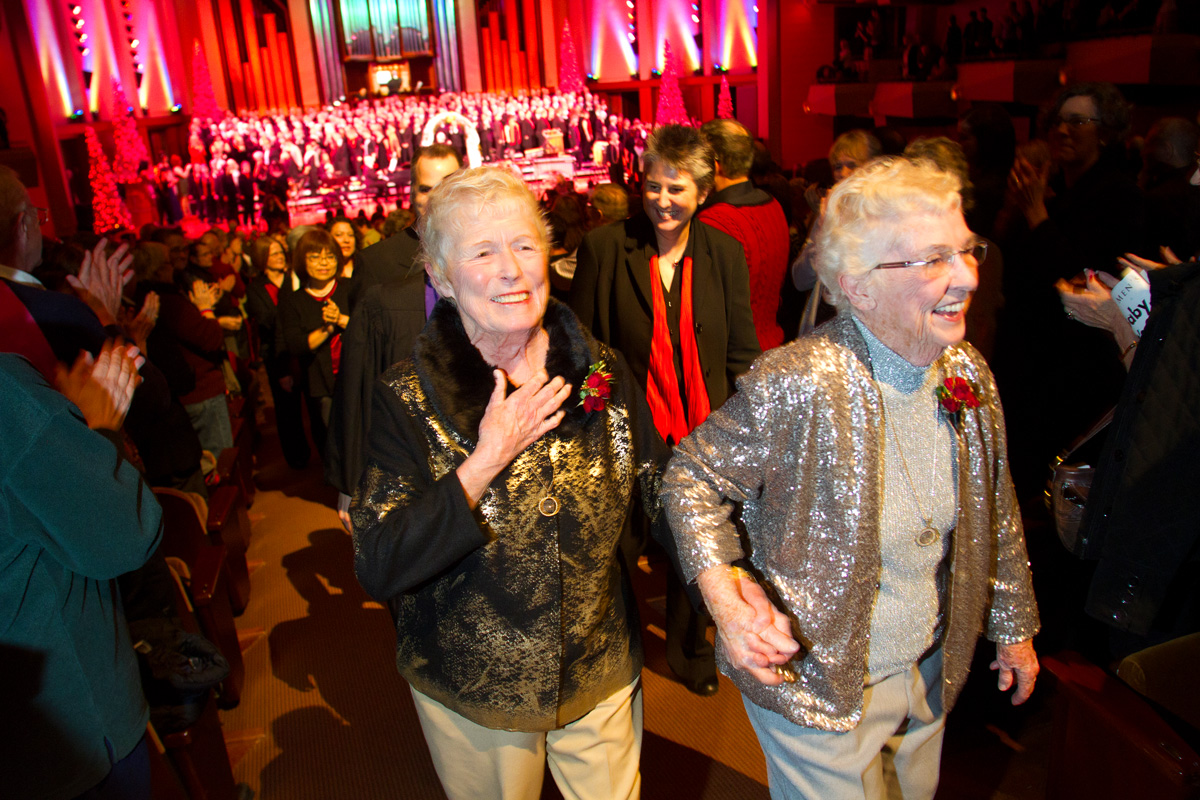 Jane Abbott Lighty & Pete-e Peterson, from Seattle, and Donald Jenny and Neil Hoyt, from Bellevue, Wash. get married during an interlude in the Seattle Men's Chorus Holiday Concert / Wedding Celebration at Benaroya Hall in Seattle, Wash., on December 9, 2012. Today was the first day same-sex couples could legally wed in Washington state. Lighty and Peterson, who have been romantic partners for 35 years received the first same-sex marriage license in Washington state. {quote}I just can't believe this is happening after all these years.{quote} said Peterson. Donald Jenny (left) and Neil Hoyt, from Bellevue, Wash., have been partners for 23 years. {quote}It's overwhelming.{quote} said Hoyt {quote}It's the biggest and best wedding party I can ever imagine.{quote}  Judge Anne Levinson oversaw the service. © Karen Ducey