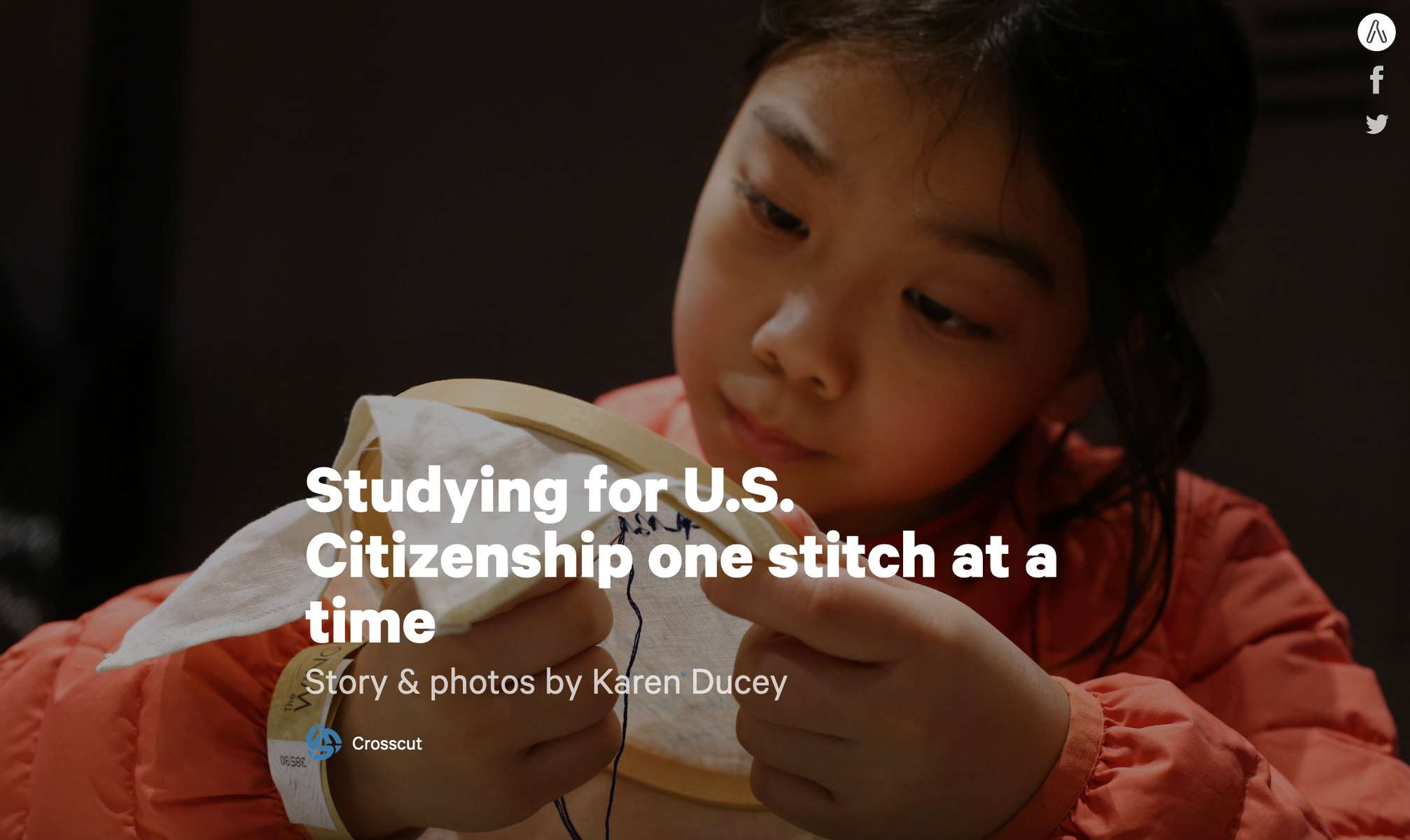 Studying for U.S. Citizenship one stitch at a time, story and photos published on Crosscut.com