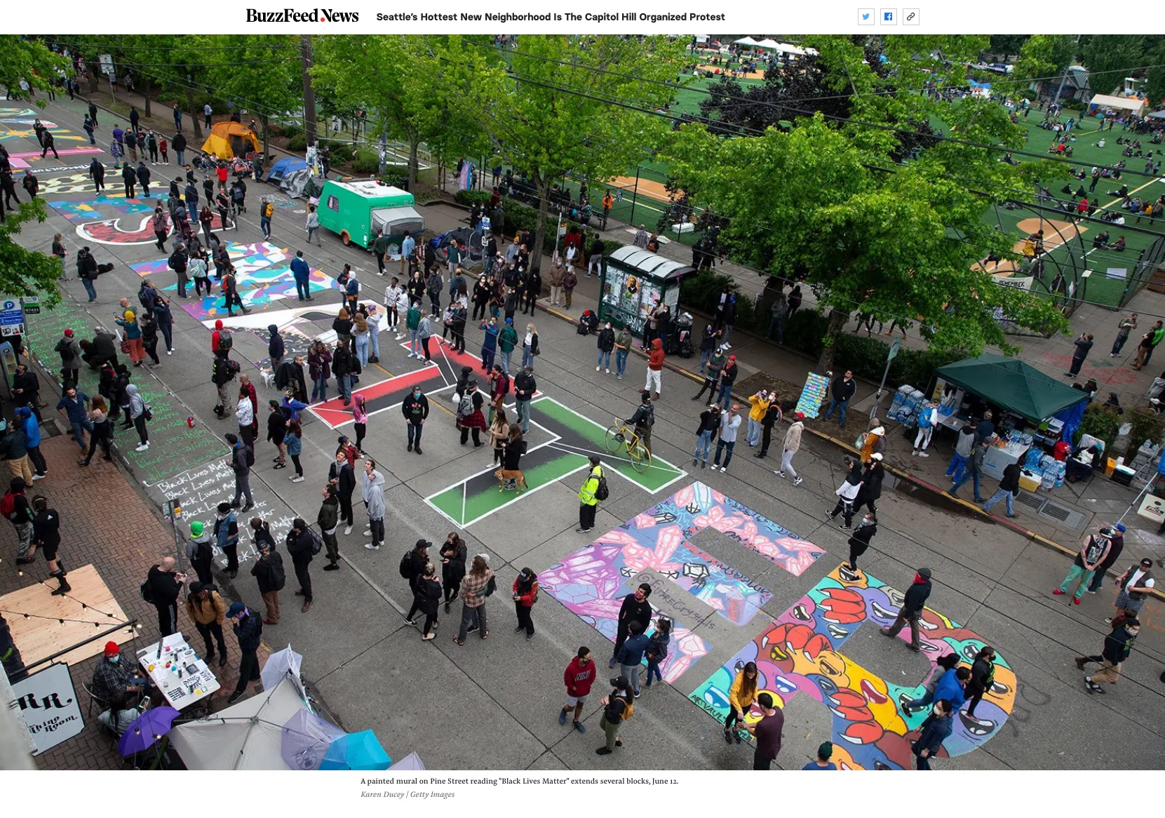 """{quote}Seattle's Hottest New Neighborhood Is The Capitol Hill Organized Protest"""" for Getty Images, published in Buzzfeed News, June 16, 2020."""