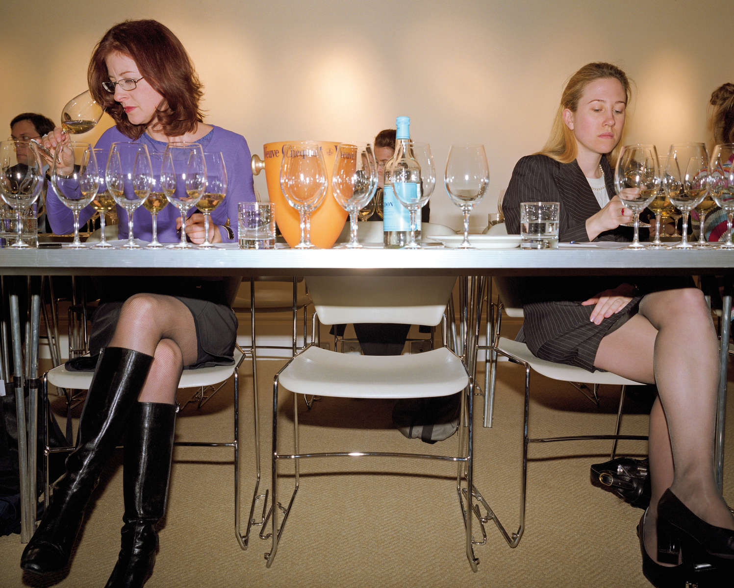 A wine-tasting class in central London organised by auction house Sotheby's. February 2001
