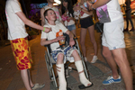 01:51 19 year old Calum, from Scotland, on the strip with friends in Ayia Napa, Cyprus. Calum slipped on the floor where he was staying and fell through a patio door and from a first floor balcony, severing the tendons in both of his legs. Travel operator, Thomas Cook, arranged three seats for him on the aeroplane home as Calum had appropriate travel insurance.