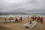 14:32 A British father is removed from the beach on a stretcher at San Antonio beach, Ibiza, after falling unconscious.