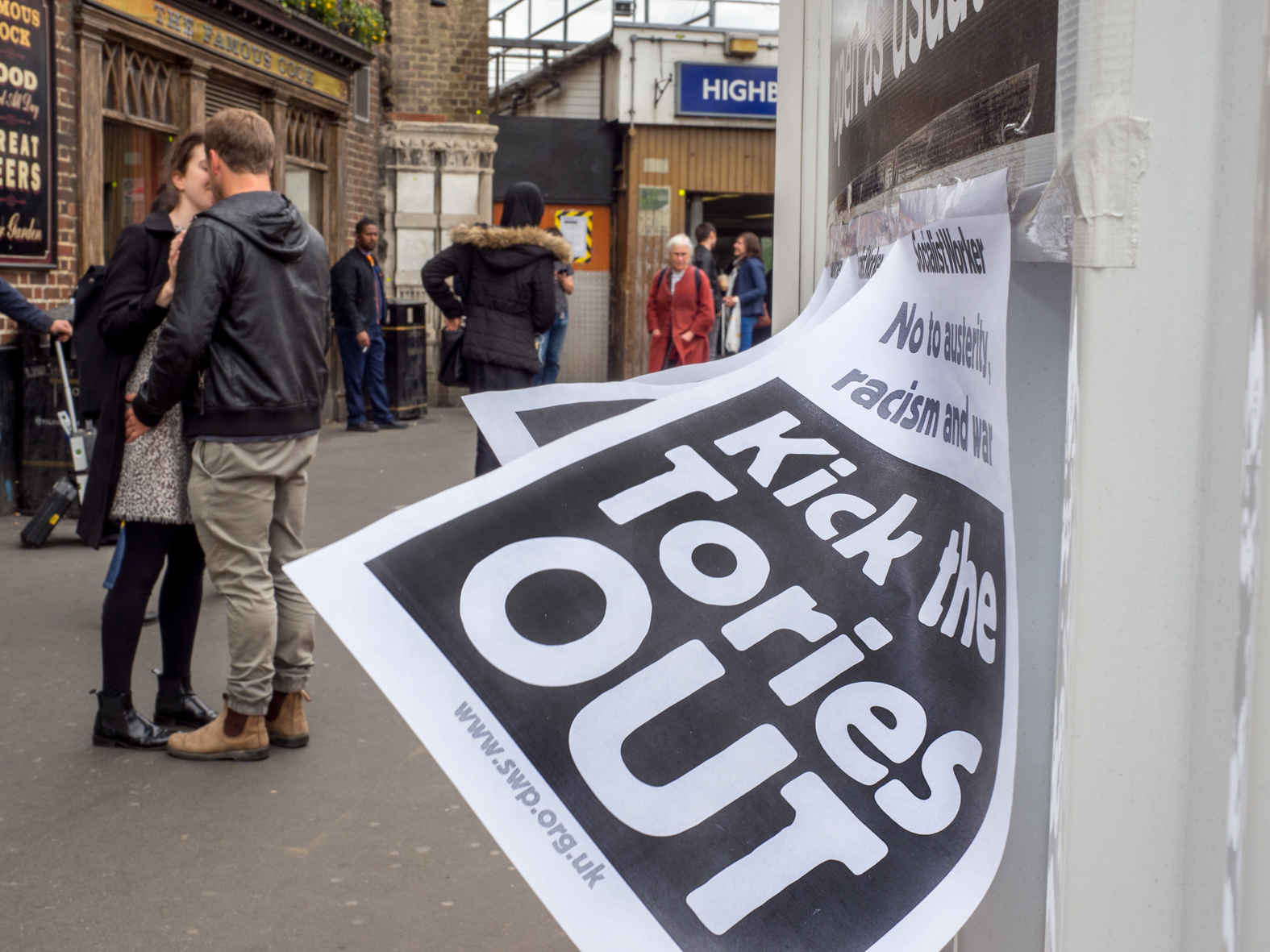 Kick the Tories OUT: Socialist Worker leaflet outside Highbury & Islington underground station. London.
