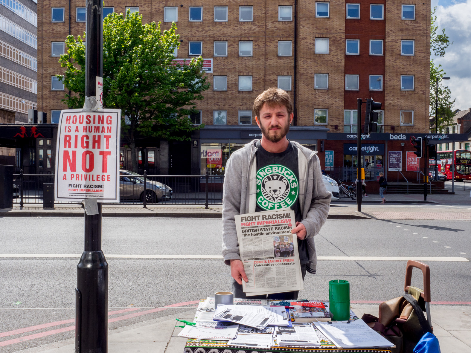 20 year old Matt, from London, studying Mathmatecs in Nottingham, with a copy of The Revolutionary Communist Group newspaper, Fight Racism! Fight Imperialism! Holloway, London.
