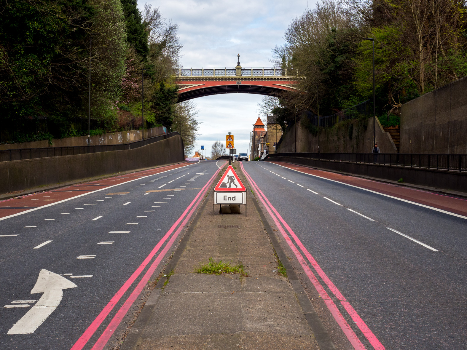 View north towards Hornsey Lane Bridge, also known as 'Suicide Bridge' due to a number being committed there over the years. Archway, London.