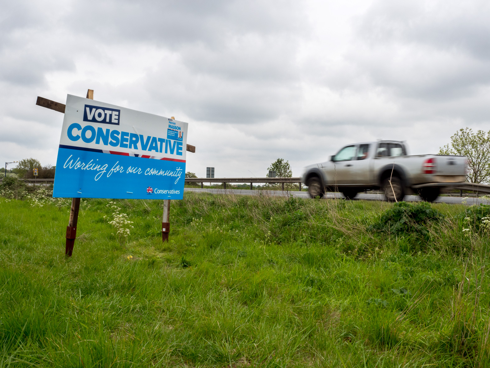 VOTE CONSERVATIVE sign. Sandy, Bedfordshire.