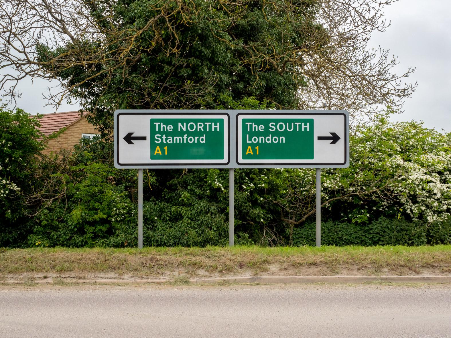 The NORTH. The SOUTH. Stibbington, Cambridgeshire.