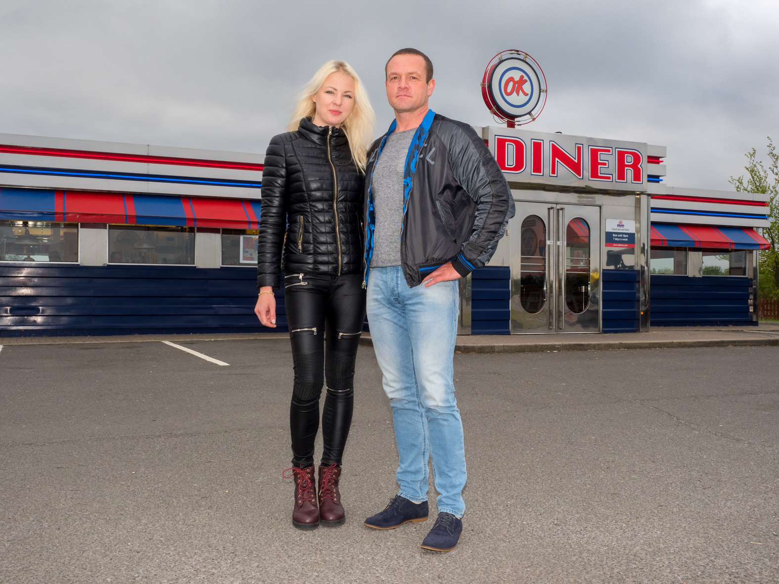After a break at an OK DINER, Vilma and Darius are continuing on by car to Sheffield. Both Lithuanian , they have lived in Britain for over a decade and aren't concerned about their residency after the UK voted out in the European Referendum. Newark, Nottinghamshire.