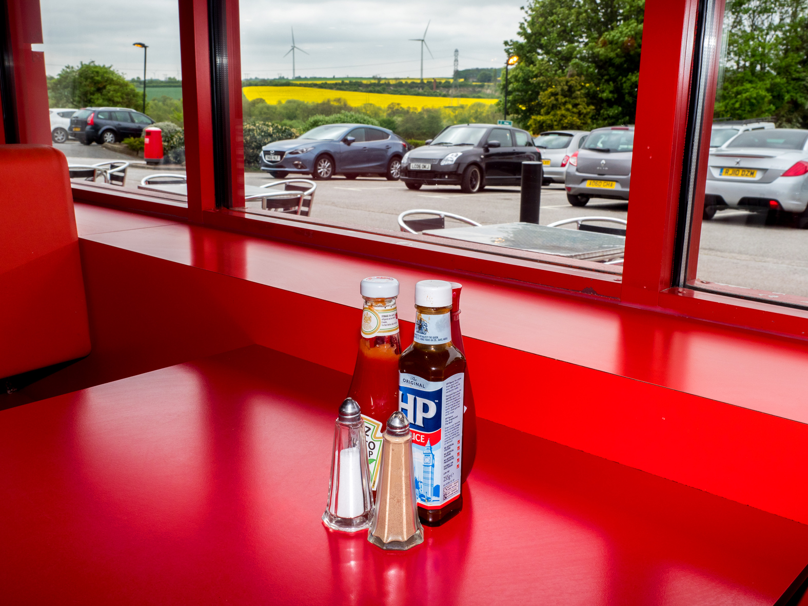 Condiments on the table at Little Chef. Doncaster, South Yorkshire.