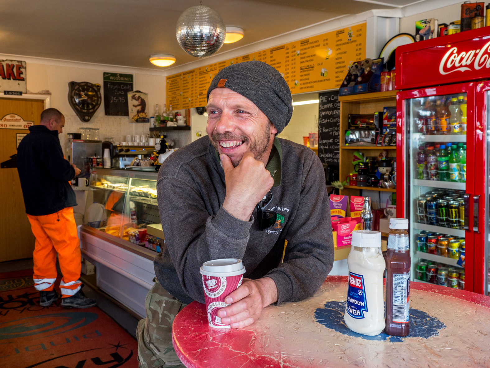 Paul in the Busy Bees Diner. He previoulsy worked in the army and as a policeman before leaving to set up a gardening and property business which is in high demand. Darrington, West Yorkshire.
