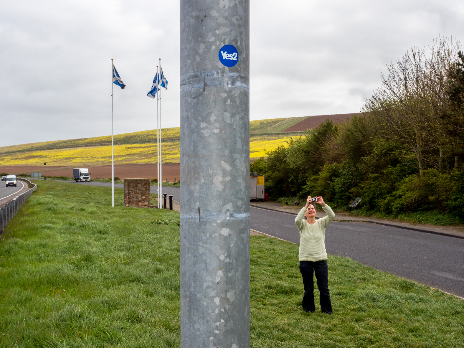 A pro Scottish independence sticker on a post at the England/Scotland border.