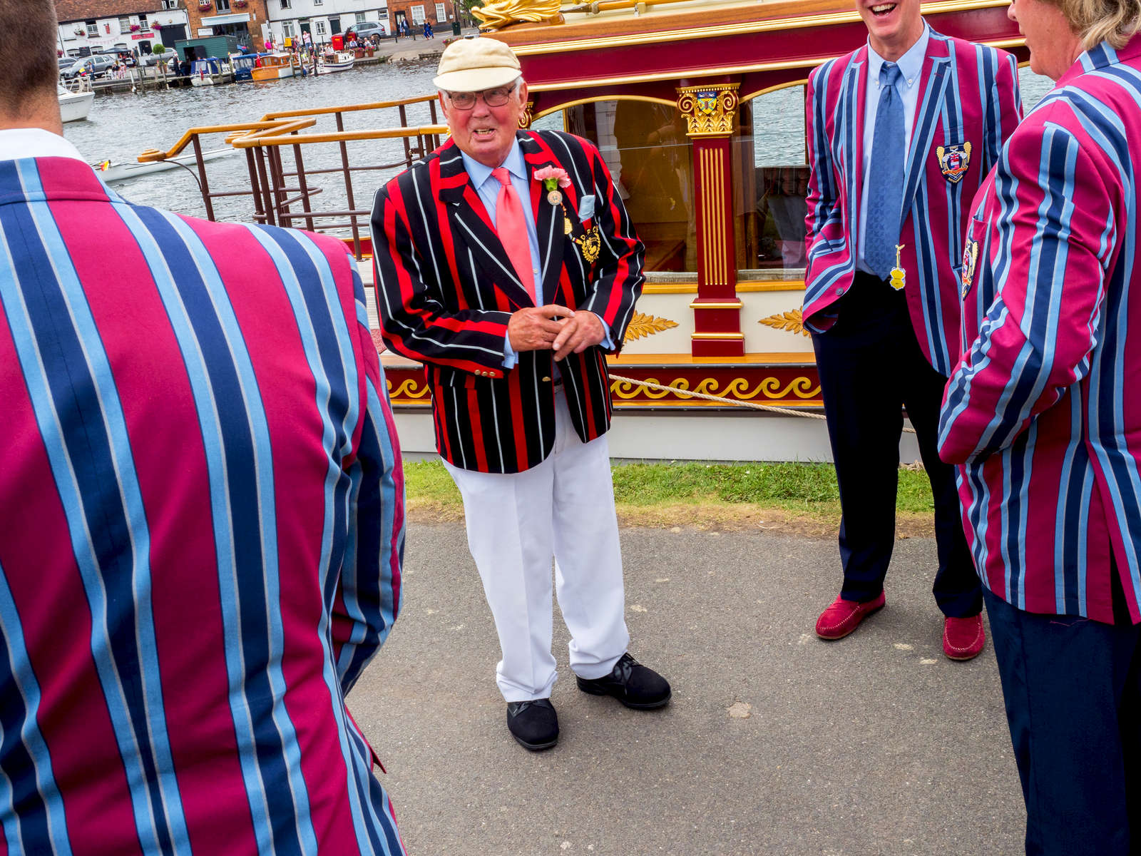 Rowing club colours worn by spectators at Henley.Henley Royal Regatta is a rowing event held annually on the River Thames by the town of Henley-on-Thames, England. It was established on 26 March 1839.