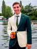 Miles Watson wears a jacket with the colours of Bewl Bridge Rowing Club. It is one of only two that exist and was presented to Watson on his 21st birthday for services to the club.Henley Royal Regatta is a rowing event held annually on the River Thames by the town of Henley-on-Thames, England. It was established on 26 March 1839.