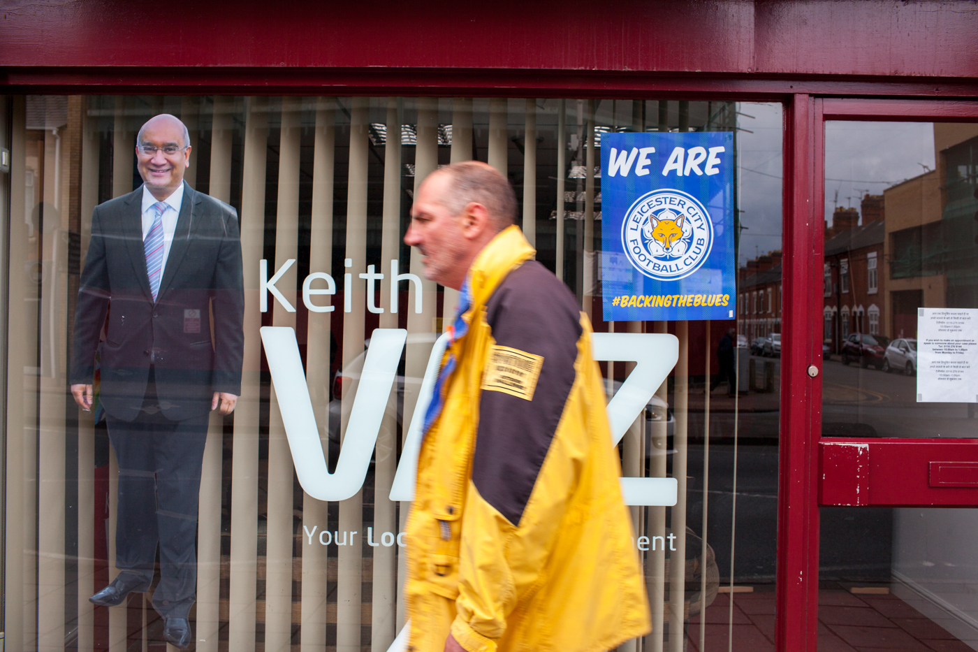 LEICESTER, UK MAY 2016Local business on Belgrave Road, Leicester, show their support for the city's football club.On the 2nd May 2016, Leicester City football club became champions of England for the first time in their 132 year history.Leicester has been dubbed as most multicultural diversified city in England, thanks to scores of people that have flocked the city and who have hailed from different parts of the world. According to the Leicester city council, the city has the highest number of immigrants who have sought both temporary and permanent residence in England. Majority of these immigrants are people who have left their home countries in pursuit of job opportunities in England.  Photo by Peter Dench/Getty Images Assignment for ESPN