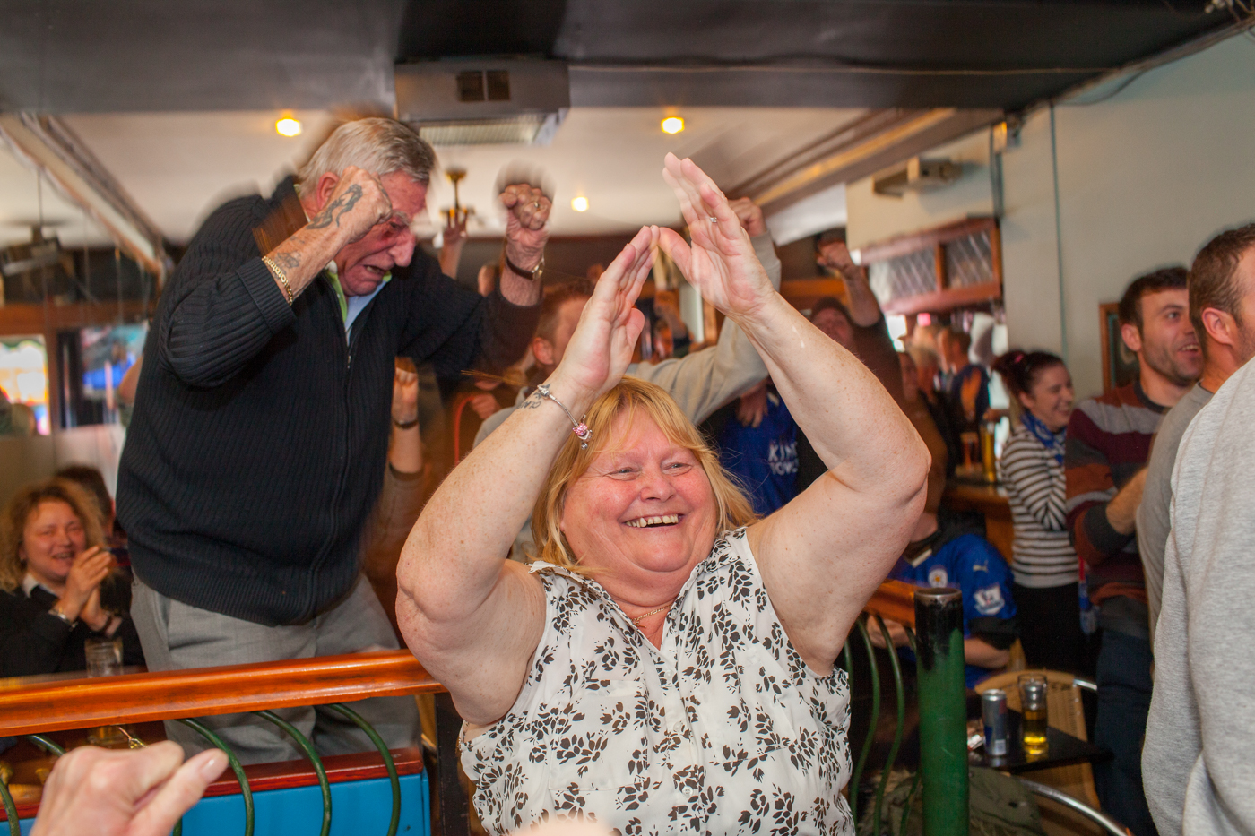 LEICESTER, UK MAY 2016Leicester City football fans watch their team playing away at MAnchester United on the television in the Oasis Bar located on Narborough Road.Narborough Road, one of the main avenues into the city, was named the most diverse street in Britain by researchers. Shopkeepers and small business owners from 23 nations work there.On the 2nd May 2016, Leicester City football club became champions of England for the first time in their 132 year history.Leicester has been dubbed as most multicultural diversified city in England, thanks to scores of people that have flocked the city and who have hailed from different parts of the world. According to the Leicester city council, the city has the highest number of immigrants who have sought both temporary and permanent residence in England. Majority of these immigrants are people who have left their home countries in pursuit of job opportunities in England.  Photo by Peter Dench/Getty Images Assignment for ESPN