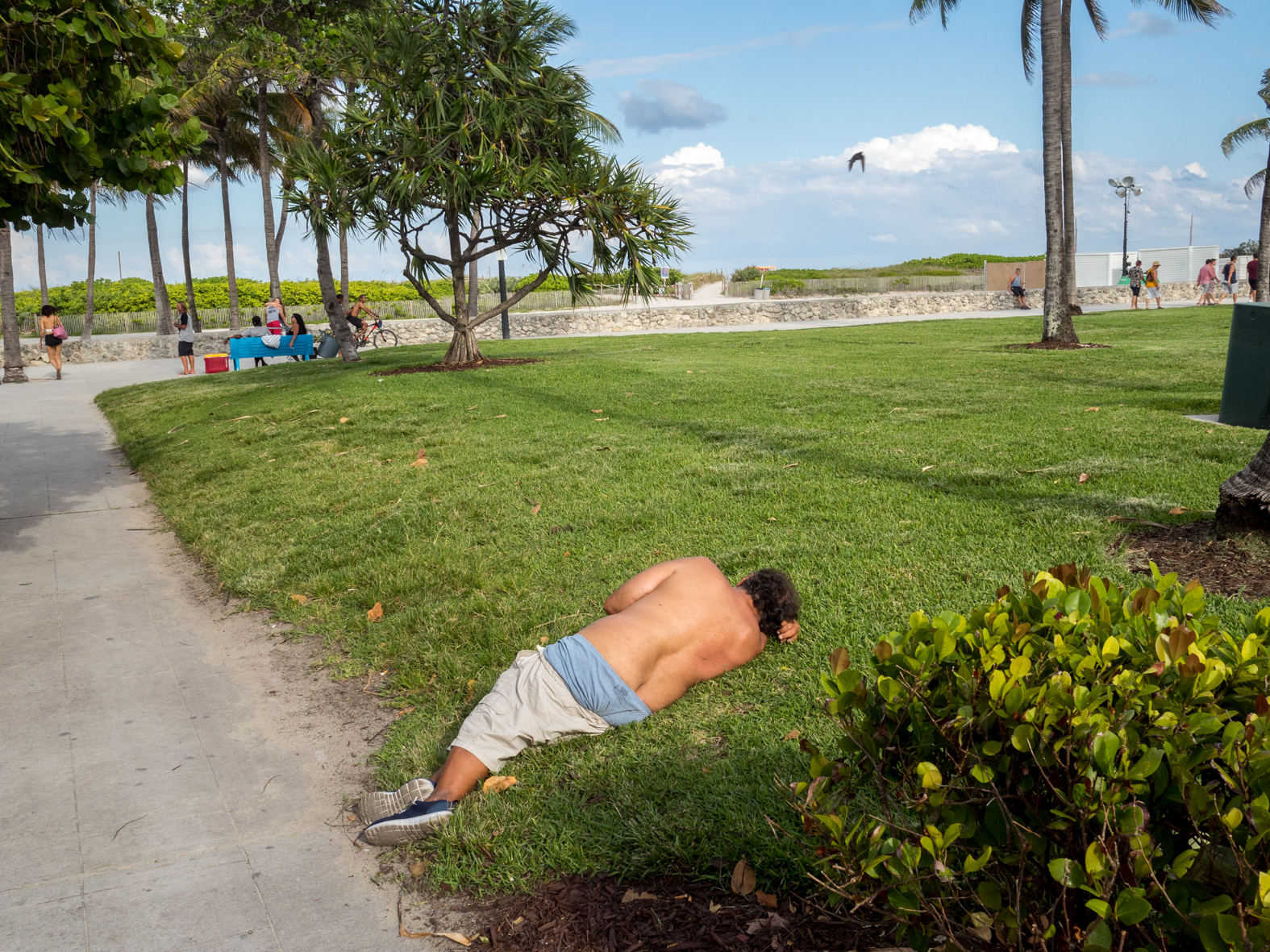 A man rests on the grass, South Beach, Miami.Miami is a seaport city on the Atlantic Ocean in south Florida. Miami's metro area is the eighth-most populous and fourth-largest urban area in the U.S., with a population of around 5.5 million.Miami is a major center, and a leader in finance, commerce, culture, media, entertainment, the arts, and international trade. In 2008, Forbes magazine ranked Miami {quote}America's Cleanest City{quote}, for its year-round good air quality, vast green spaces, clean drinking water, clean streets, and city-wide recycling programs. According to a 2009 UBS study of 73 world cities, Miami was ranked as the richest city in the United States, and the world's fifth-richest city in terms of purchasing power. Miami is nicknamed the {quote}Capital of Latin America{quote}, is the second largest U.S. city with a Spanish-speaking majority, and the largest city with a Cuban-American plurality.©Peter Dench/Getty Images Reportage
