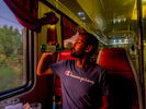 Somalian born, Norwegian national and Arsenal fan, Abdi (aged 27), drinks a beer in the restaurant car on the Trans-Siberian Railway from Moscow-Vladivostok,. Spanning a length of 9,289km, it's the longest uninterrupted single country train journey in the world. It has connected Moscow with Vladivostok since 1916, and is still being expanded. It was built between 1891 and 1916 under the supervision of Russian government ministers personally appointed by Tsar Alexander III and his son, the Tsarevich Nicholas (later Tsar Nicholas II).