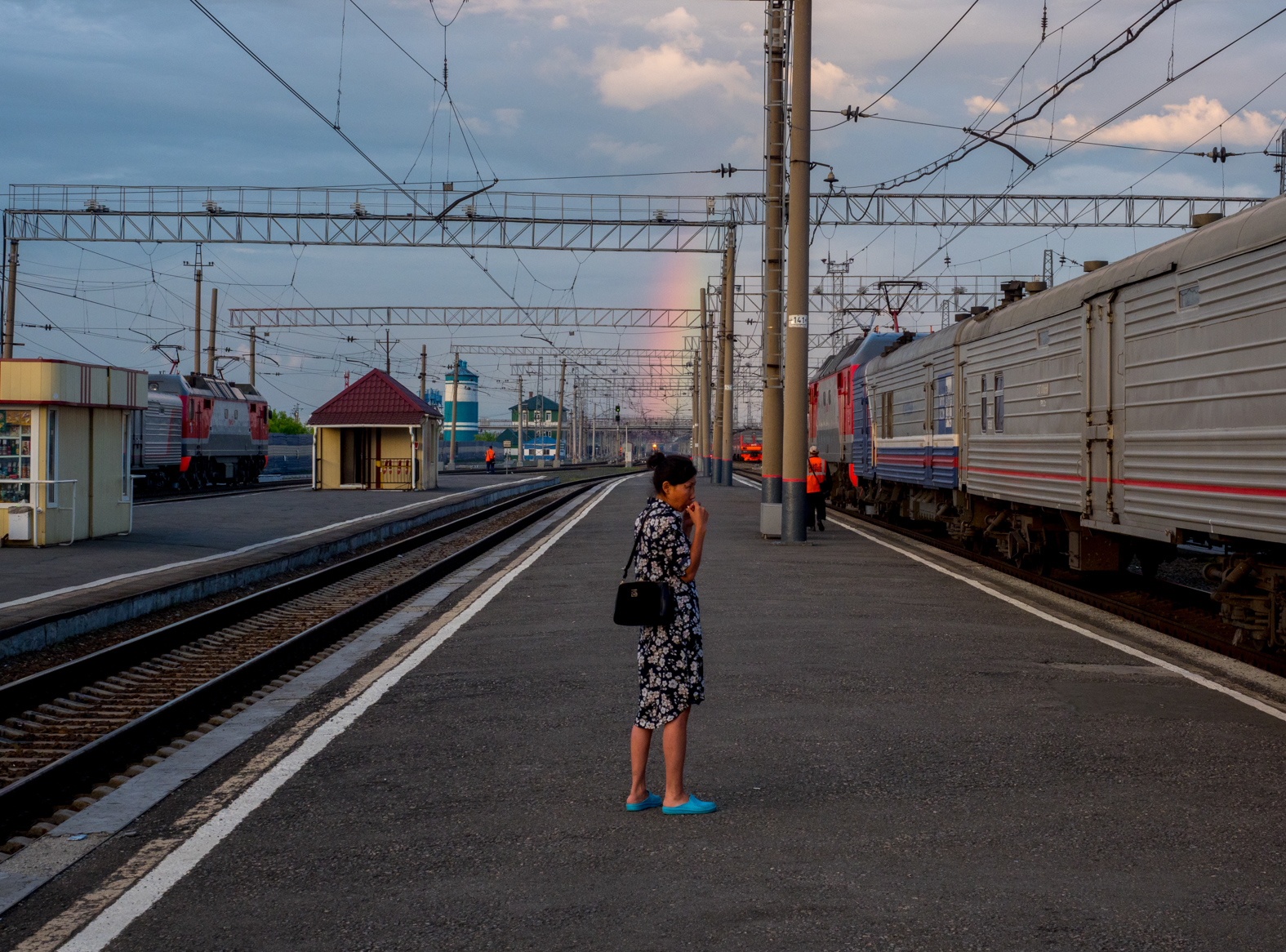 A rainbow arcs over the Trans-Siberian Railway from Moscow-Vladivostok. Spanning a length of 9,289km, it's the longest uninterrupted single country train journey in the world. It has connected Moscow with Vladivostok since 1916, and is still being expanded. It was built between 1891 and 1916 under the supervision of Russian government ministers personally appointed by Tsar Alexander III and his son, the Tsarevich Nicholas (later Tsar Nicholas II).
