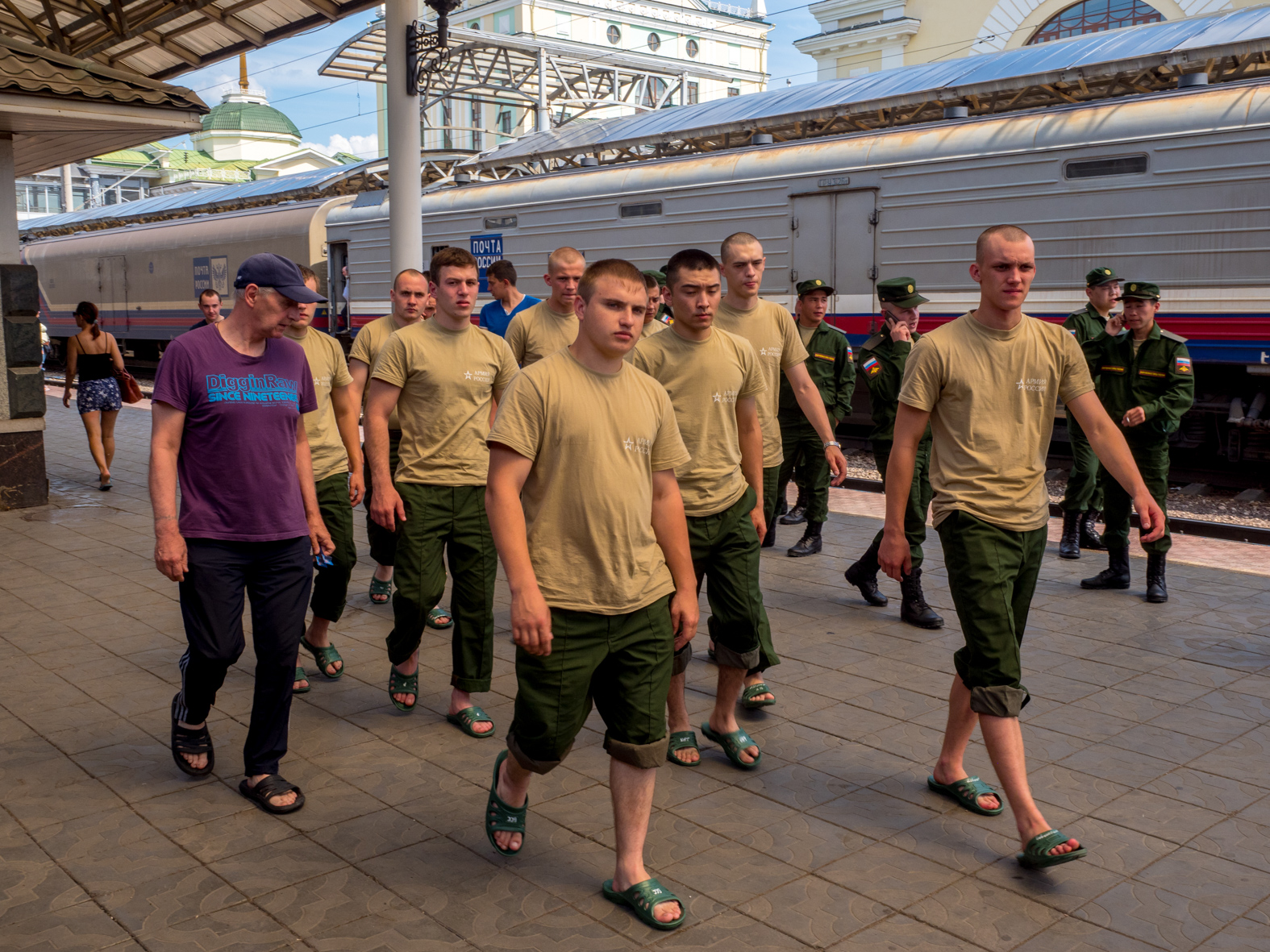 Army recruits head back on board the Trans-Siberian Railway from Moscow-Vladivostok. Spanning a length of 9,289km, it's the longest uninterrupted single country train journey in the world. It has connected Moscow with Vladivostok since 1916, and is still being expanded. It was built between 1891 and 1916 under the supervision of Russian government ministers personally appointed by Tsar Alexander III and his son, the Tsarevich Nicholas (later Tsar Nicholas II).