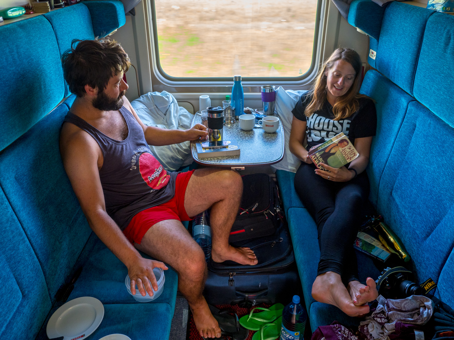 English born Jenna (33) and Australian husband Ben (31), celebrating their honeymoon in a first class carriage cabin on the Trans-Siberian Railway from Moscow-Vladivostok. Spanning a length of 9,289km, it's the longest uninterrupted single country train journey in the world. It has connected Moscow with Vladivostok since 1916, and is still being expanded. It was built between 1891 and 1916 under the supervision of Russian government ministers personally appointed by Tsar Alexander III and his son, the Tsarevich Nicholas (later Tsar Nicholas II).