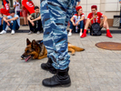 Special unit police on guard outside the Spartak Stadium in Moscow ahead of a group match between Belgium and Tunisia. The 21st FIFA World Cup football tournament took place in Russia in 2018. It was the first World Cup to be held in Eastern Europe and the eleventh time that it has been held in Europe. For the first time the tournament took place on two continents – Europe and Asia. All but two of the stadium venues were in European Russia.