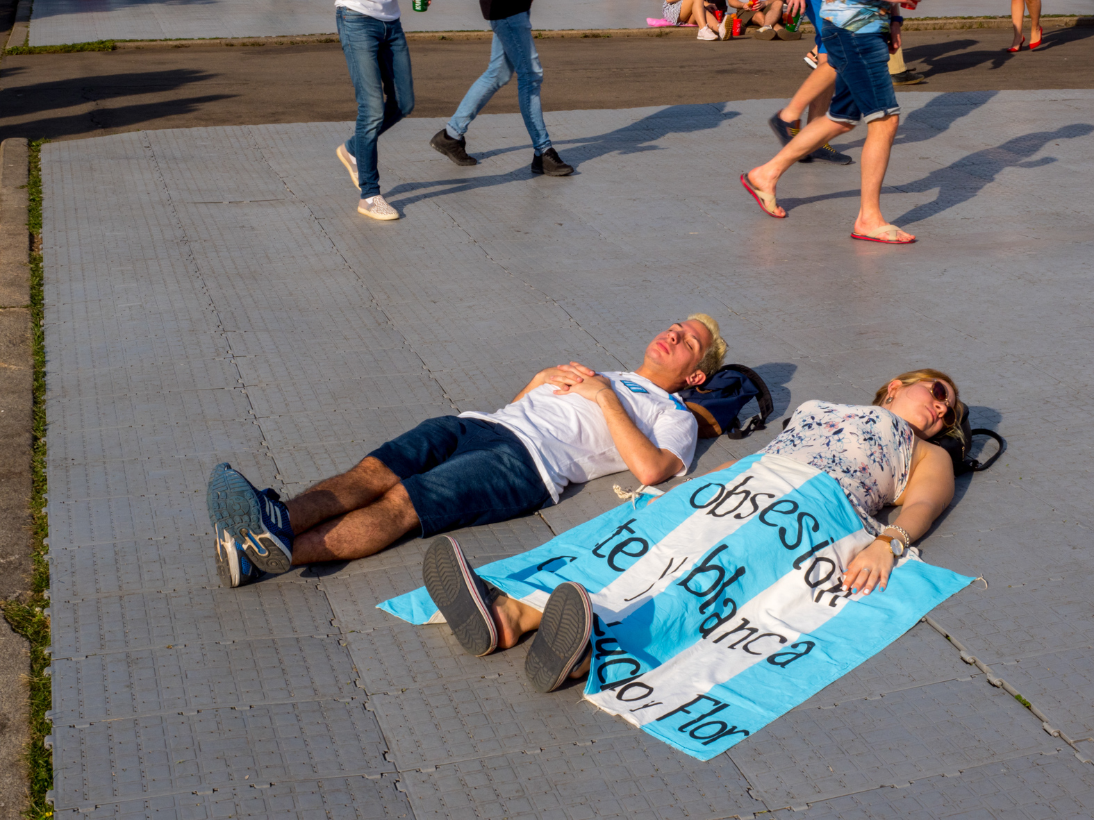 Argentinian fans rest on the gorund. The FIFA Fan Fest located at Vorobyovy Gory (Sparrow Hills) Moscow, has a venue Capacity of 25,000. The site provides a spectacular view down the hill, directly towards Luzhniki Stadium and Moscow City. The 21st FIFA World Cup football tournament took place in Russia in 2018. It was the first World Cup to be held in Eastern Europe and the eleventh time that it has been held in Europe. For the first time the tournament took place on two continents – Europe and Asia. All but two of the stadium venues were in European Russia.