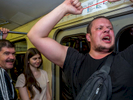 A football fan sings patriotic songs on the Moscow Metro rapid transport system. The 21st FIFA World Cup football tournament took place in Russia in 2018. It was the first World Cup to be held in Eastern Europe and the eleventh time that it has been held in Europe. For the first time the tournament took place on two continents – Europe and Asia. All but two of the stadium venues were in European Russia.
