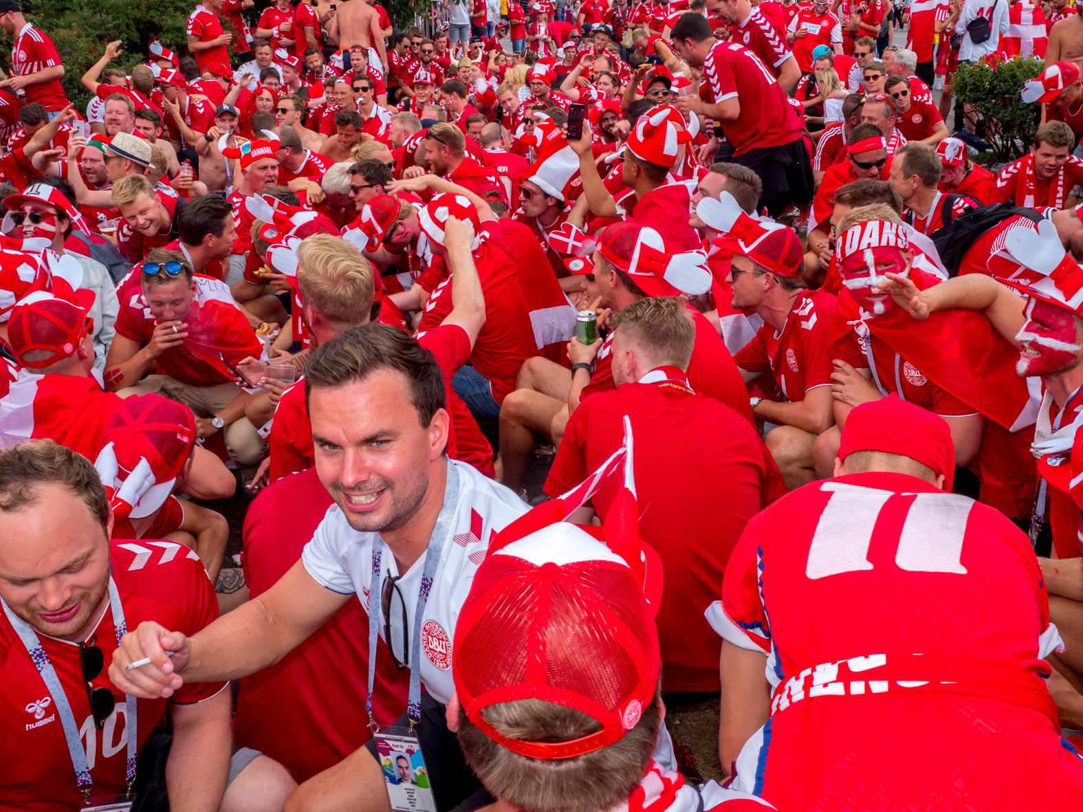 Danish fans drink beer in central Moscow ahead of their match with France.The 21st FIFA World Cup football tournament took place in Russia in 2018. It was the first World Cup to be held in Eastern Europe and the eleventh time that it has been held in Europe. For the first time the tournament took place on two continents – Europe and Asia. All but two of the stadium venues were in European Russia.