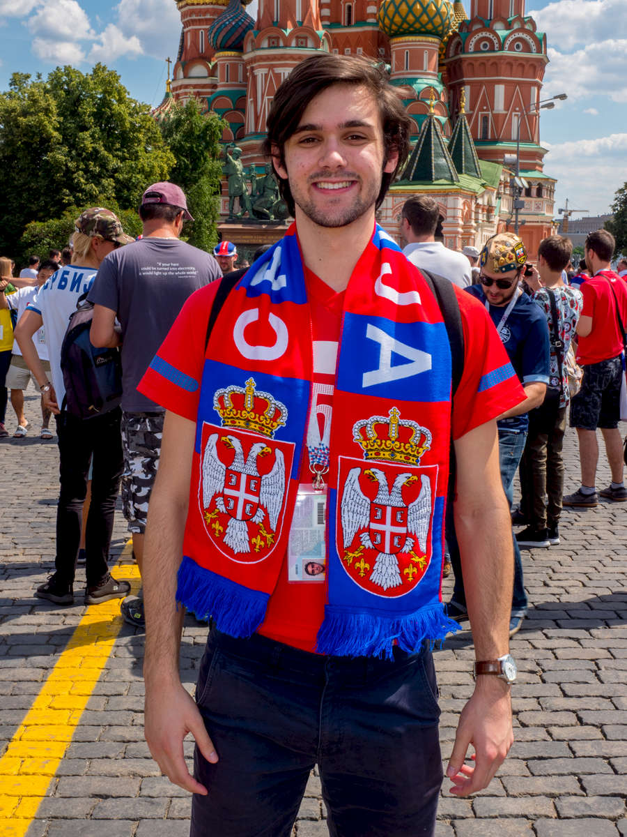 Serbain football fan Mihailo Bozic in Moscow's Red Square. He has travelled over 20 hours from Australia to see his team play. The 21st FIFA World Cup football tournament took place in Russia in 2018. It was the first World Cup to be held in Eastern Europe and the eleventh time that it has been held in Europe. For the first time the tournament took place on two continents – Europe and Asia. All but two of the stadium venues were in European Russia.