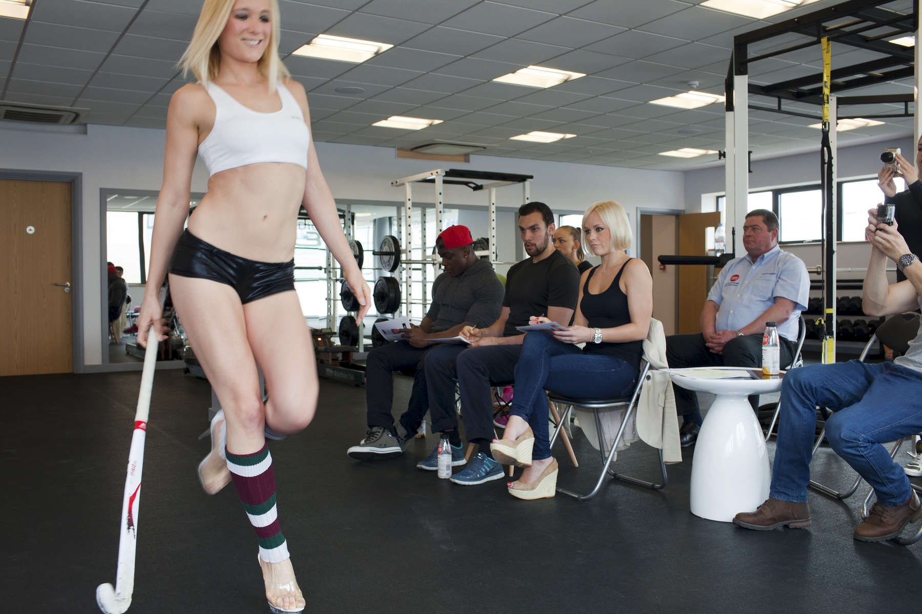 A competitive fitness modelling boot camp at the Emma Louise Burrows studio in Loughton, Essex.Emma Louise Burrows is a fitness champion, elite personal trainer, fitness competitor coach, presenter and model.Emma Louise Burrows is a fitness champion, elite personal trainer, fitness competitor coach, presenter and model.©Peter Dench/Getty Images Reportage